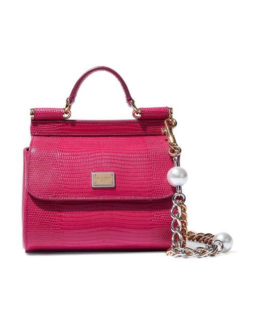 2e3b2c9417 ... Dolce   Gabbana - Multicolor Woman Sicily Lizard-effect Leather  Shoulder Bag Magenta - Lyst