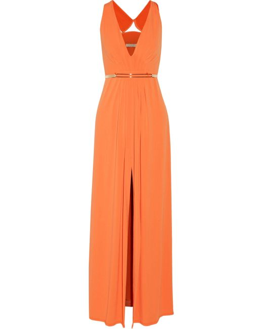 Halston Heritage - Orange Split-front Belted Stretch-jersey Gown - Lyst