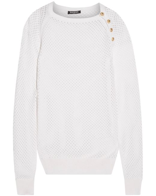 Balmain | White Open-knit Silk And Cashmere-blend Sweater | Lyst