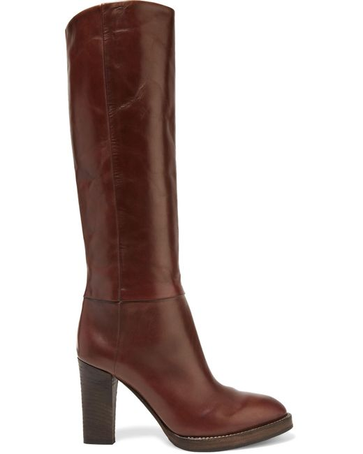 Brunello Cucinelli | Brown Leather Knee Boots | Lyst
