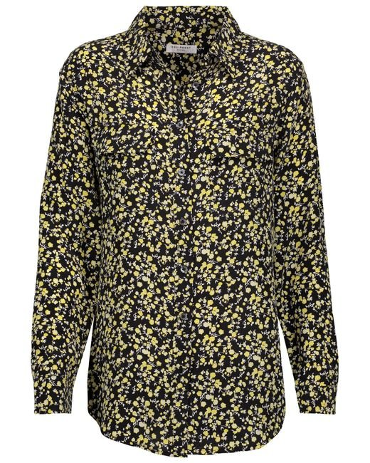 Equipment signature floral print washed silk shirt in for Equipment black silk shirt