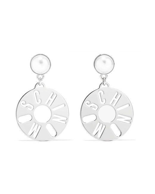 Moschino | Metallic Silver-tone Faux Pearl Earrings | Lyst