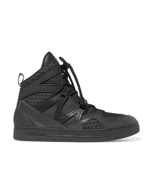 Marc By Marc Jacobs | Black Mesh, Leather And Acrylic High-top Sneakers | Lyst