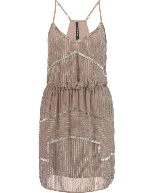 W118 by Walter Baker | Brown Destiny Bead-embellished Chiffon Mini Dress | Lyst