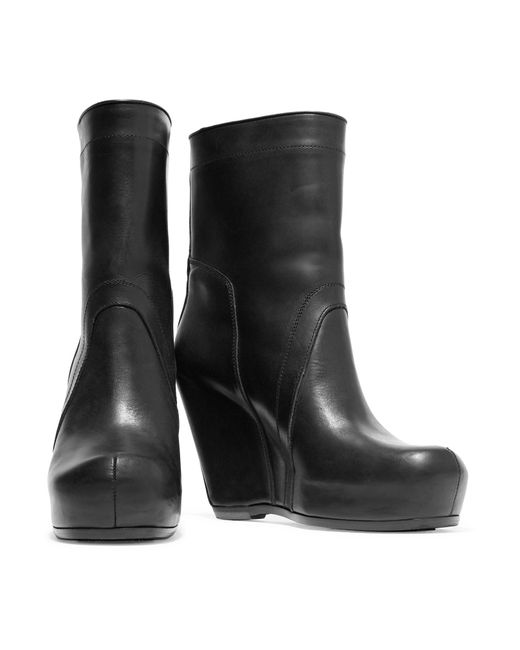 rick owens leather wedge ankle boots in black lyst