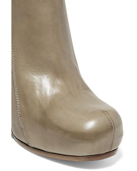 rick owens glossed leather wedge ankle boots lyst