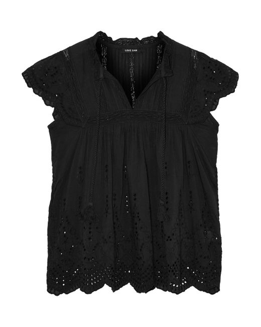 Love Sam - Black Lila Crochet-trimmed Broderie Anglaise Voile Blouse - Lyst