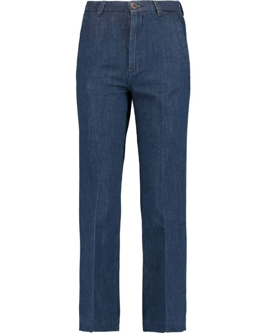 MiH Jeans | Blue Coler Cropped Embroidered High-rise Flared Jeans Mid Denim Size M | Lyst