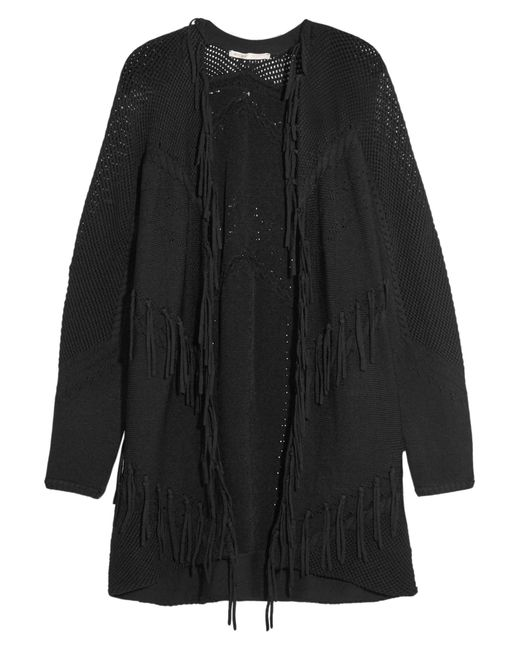 Maje | Black Fringed Paneled Knitted Cardigan | Lyst