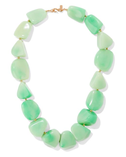 Kenneth Jay Lane - Green Gold-tone Bead And Stone Necklace - Lyst