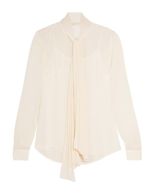 MICHAEL Michael Kors   Natural Pleated Pussy-bow Chiffon Top   Lyst