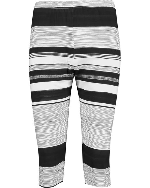 Norma Kamali | White Cropped Striped Stretch-jersey Leggings | Lyst
