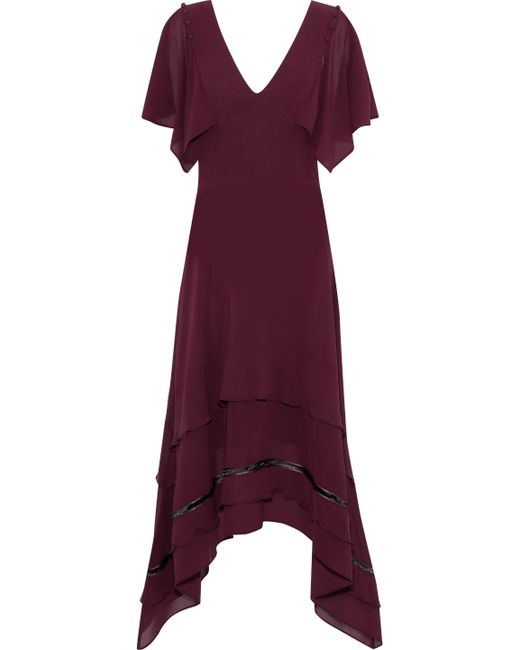 Derek Lam - Purple Open Knit-trimmed Silk Crepe De Chine Dress - Lyst