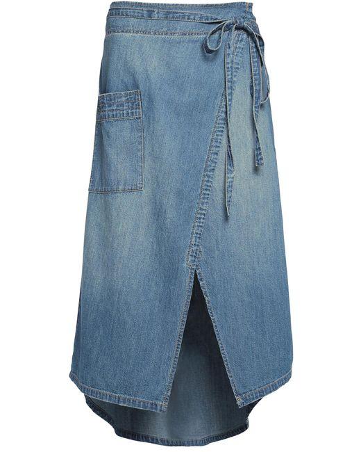 Current/Elliott | Blue The Paperbag Denim Wrap Midi Skirt | Lyst