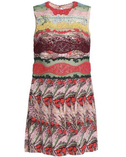 Valentino - Multicolor Lace-paneled Printed Silk Crepe De Chine Mini Dress - Lyst