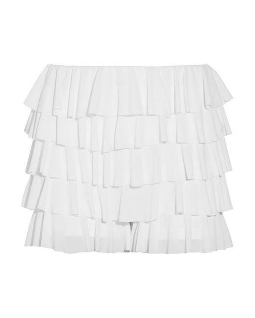 Norma Kamali | White Ruffled Stretch-crepe Shorts | Lyst