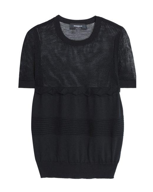 Rochas - Black Open Knit-paneled Wool Top - Lyst