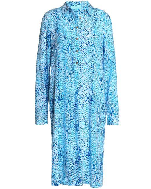 Melissa Odabash - Blue Snake-print Voile Dress - Lyst