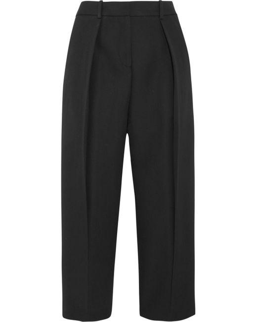 Joseph - Black Saville Cropped Wool-crepe Wide-leg Pants - Lyst