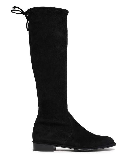 Stuart Weitzman - Woman Bow-detailed Suede Boots Black - Lyst
