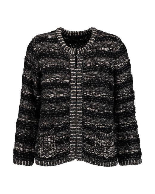 Maje - Black Metallic Bouclé-knit Cardigan - Lyst
