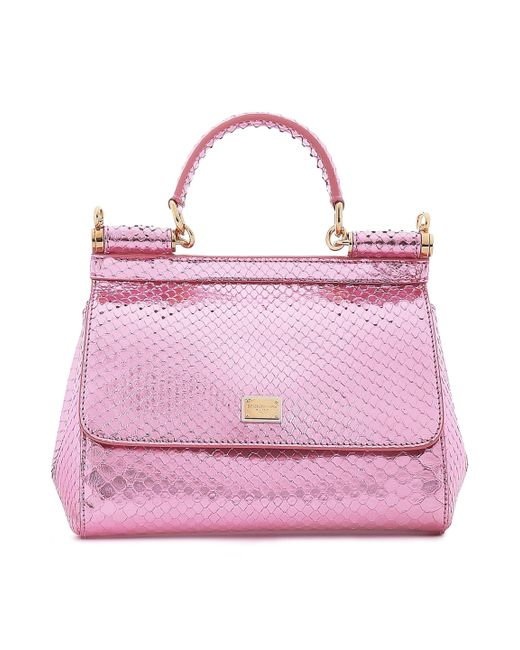 2e80000f18 Dolce   Gabbana - Woman Sicily Mini Mirrored-python Shoulder Bag Baby Pink  - Lyst ...