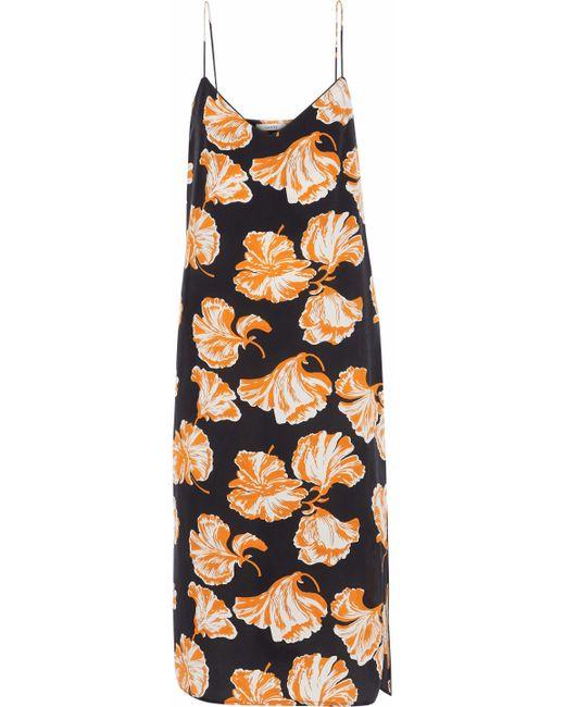 Ganni - Black Geroux Printed Washed-silk Slip Dress - Lyst