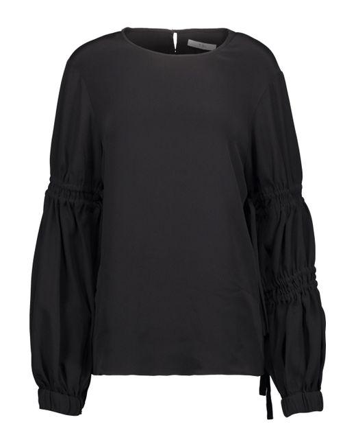 80727603977 Lyst - Tibi Woman Smocked Silk Crepe De Chine Top Black in Black