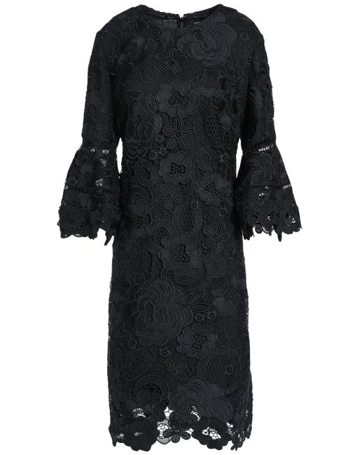 Lela Rose - Woman Fluted Guipure Lace Dress Black Size 0 - Lyst