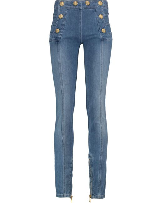 Balmain - Blue Button-detailed Faded High-rise Skinny Jeans - Lyst