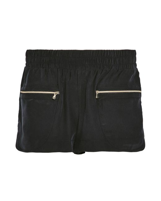L'Agence - Black Gathered Washed-silk Shorts - Lyst