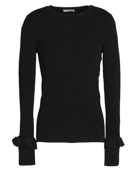 Nina Ricci - Black Ruffle-trimmed Stretch-knit Wool Top - Lyst