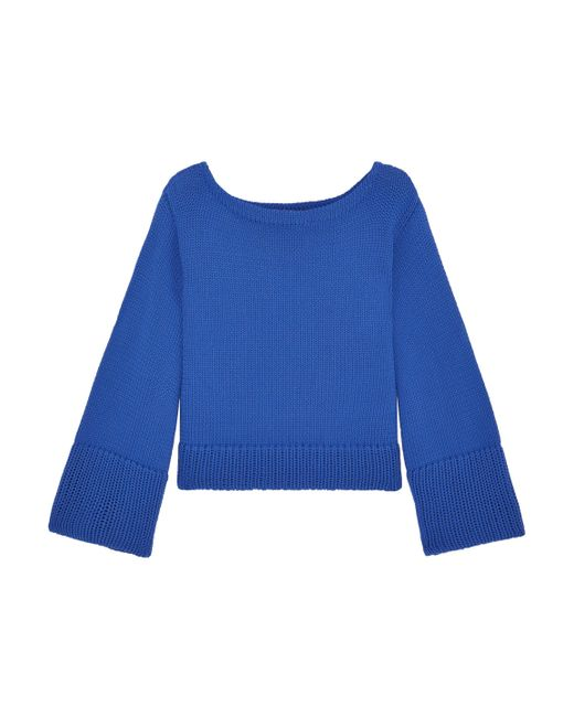 MILLY - Blue Cropped Cotton-blend Sweater - Lyst