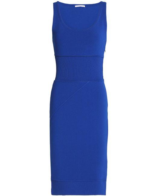 Antonio Berardi - Blue Ribbed Knit-paneled Stretch-knit Dress - Lyst