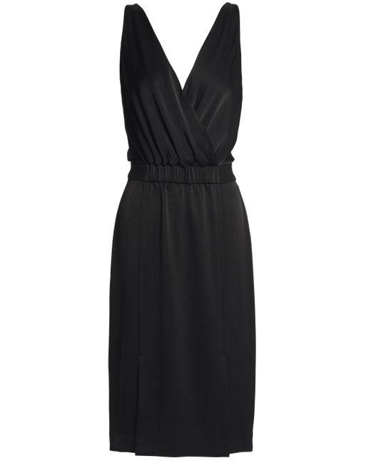 Rachel Zoe - Woman Norah Wrap-effect Satin Dress Black - Lyst