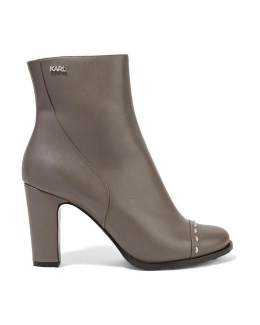 Karl Lagerfeld   Gray Studded Leather Ankle Boots   Lyst