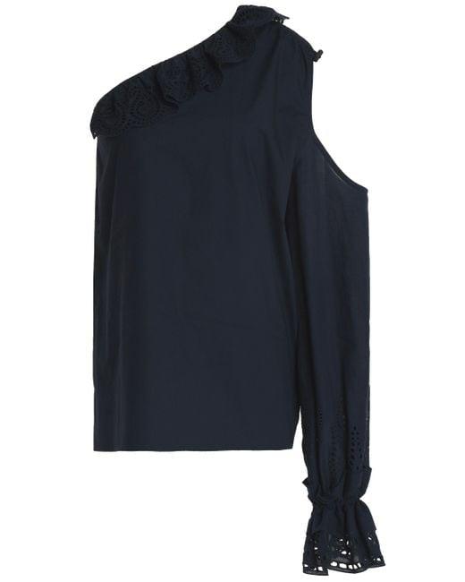 Goen.J - Blue Woman One-shoulder Cutout Broderie Anglaise-trimmed Cotton-poplin Top Navy - Lyst