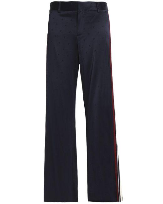 10 Crosby Derek Lam - Stretch-silk Jacquard Flared Pants Midnight Blue - Lyst