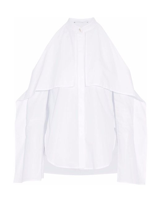Rosetta Getty - White Cold-shoulder Draped Cotton-poplin Blouse - Lyst