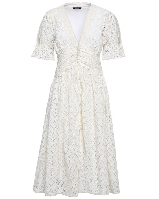 258c4182ef Love Sam - White Woman Broderie Anglaise Cotton Midi Dress Ivory - Lyst ...