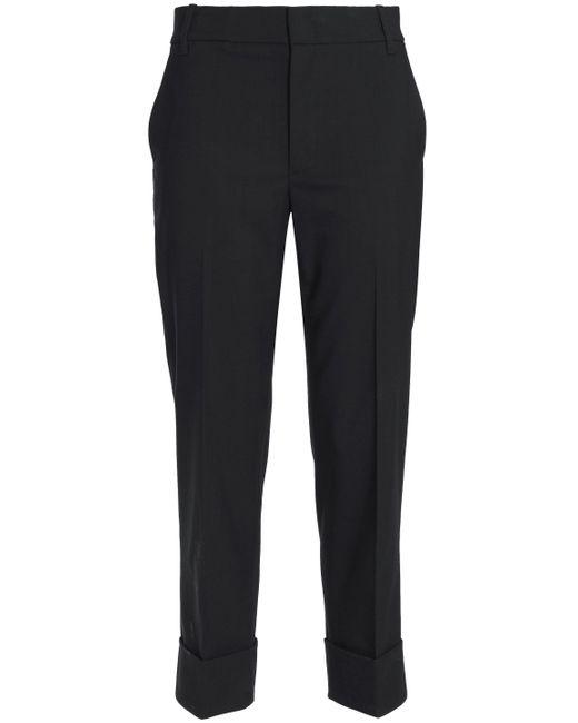 Vince - Black Cropped Stretch-wool Crepe Slim-leg Pants - Lyst