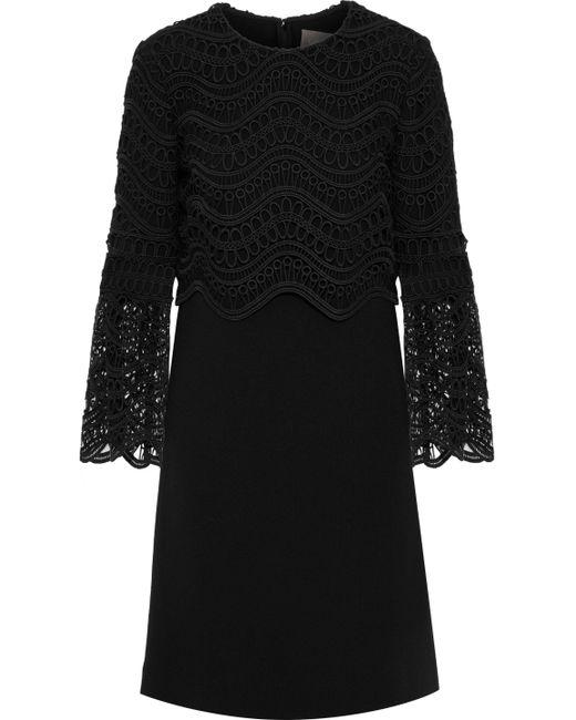 Lela Rose - Woman Guipure Lace-paneled Wool-blend Crepe Dress Black - Lyst