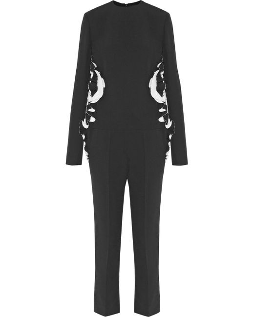 Haider Ackermann - Black Two-tone Ruffle-trimmed Crepe Jumpsuit - Lyst