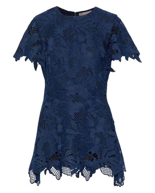 Lela Rose - Blue Wool-blend Guipure Lace Top - Lyst