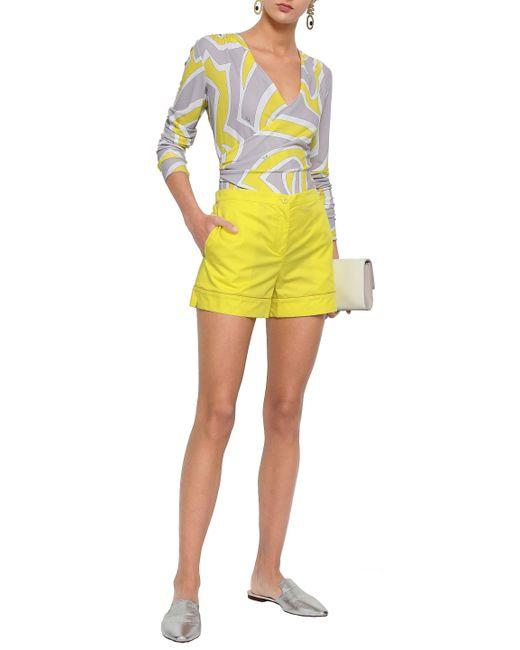 7e0609dc0fb4 Emilio Pucci Woman Cotton-poplin Shorts Bright Yellow in Yellow - Lyst