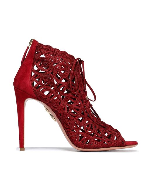 Aquazzura - Embroidered Suede Sandals - Lyst