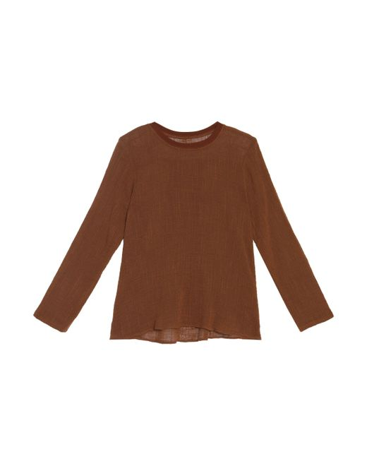 Enza Costa | Brown Trapeze Cotton Top | Lyst