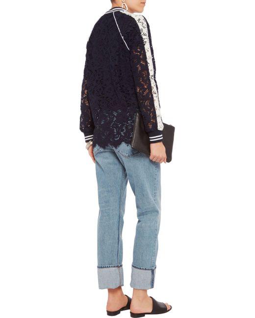 J | Blue Two-tone Corded Lace Jacket | Lyst Goen.