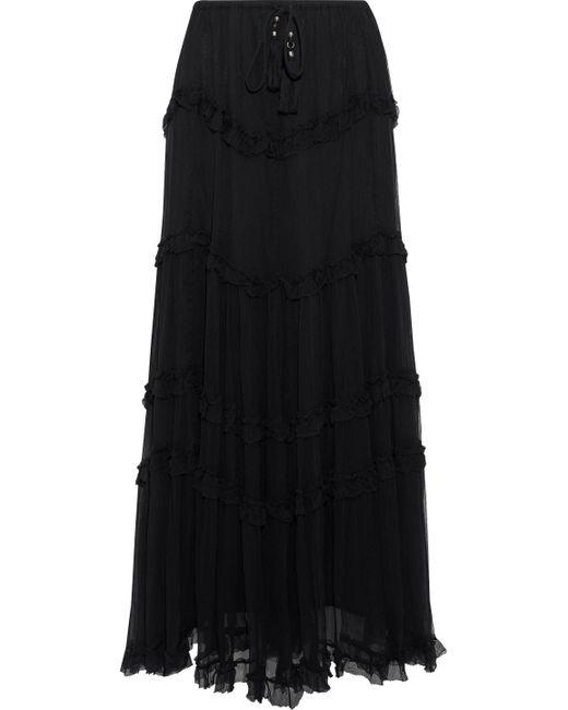Love Sam - Black Kasia Tiered Georgette Maxi Skirt - Lyst