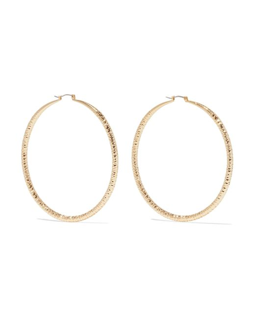 Kenneth Jay Lane - Metallic Woman Gold-tone Hoop Earrings Gold - Lyst